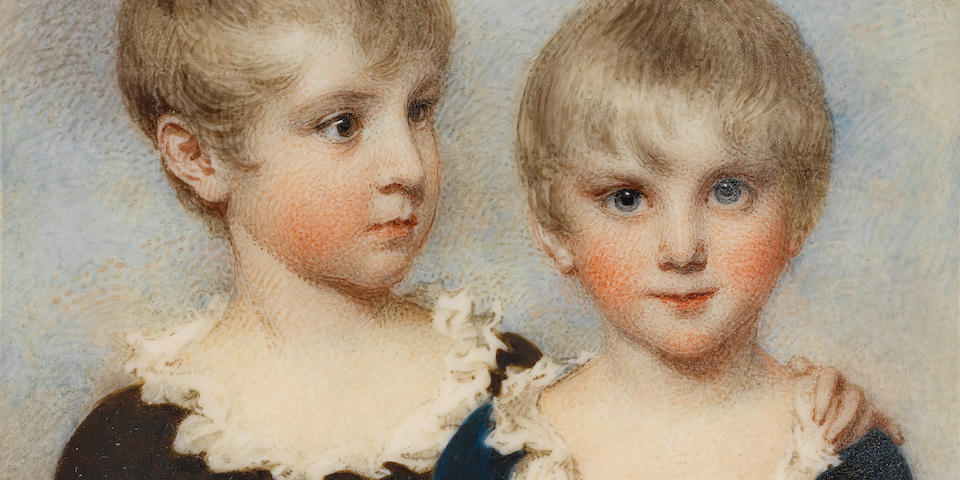 William Wood (British, 1769-1810) A rare double-portrait of 'The Beauvais Boys': Lewis and Alexander Beauvais, aged 5 and 4 years respectively; Lewis, with turned head and a protective hand on his younger brother's shoulder, wearing ivory breeches, brown jacket and white chemise with frilled collar; Alexander, facing forward and wearing cream breeches, blue jacket and white chemise with frilled collar