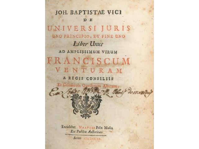 VICO (GIOVANNI BATTISTA) De Universi juris uno principio, et fine uno, 2 vol. in 1, 1720-1721