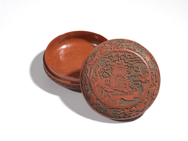 A very rare three-colour lacquer circular 'pavilion' box and and cover Jiajing six-character mark and of the period
