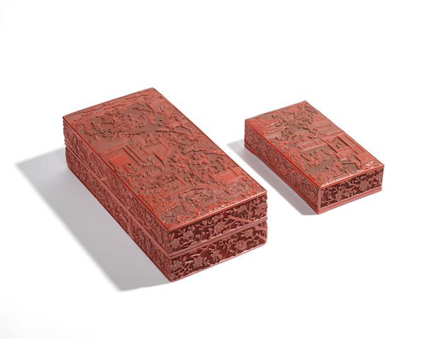 A very rare and large carved cinnabar lacquer 'one hundred boys' rectangular box and cover, with a very rare carved cinnabar lacquer 'boys' inkstone box and cover Both 16th century