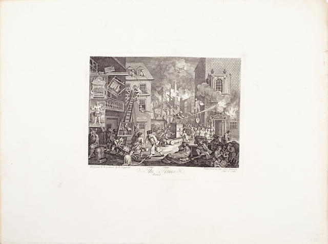 William Hogarth (British, 1697-1764) Collection of Engravings Works by and after Hogarth, including ten engravings from Industry and Idleness (P168-171,174-179), third states, four from The Harlot's Progress (P122,124-126), second states with the cross added, two from the Rake's Progress (P137,138), Stage-coach (P167), O the Roast Beef of England (P180), two sets of The Times (P211, 212), third and fourth states, one set on a single sheet, Credulity (210a), Analysis of Beauty Plate I (P195), Scholars at a lecture and Undertakers (P143, 144), Martin Folkes (P154), fourth state; the following by Thomas Cook: eight from Hudibras (P82,83,85,88,89,91-93), Reward of Cruelty (P190), Sancho at the Feast (P100), The Committee (P91), Bambridge on trial for murder; the following by Thomas Haynes: Debates on Palmistry, Stay Maker, plus six smaller etchings on one sheet by J.Simpson, on wove and J.Whatman papers, with wide margins, 500 x 645mm (19 3/4 x 25 3/8in)(SH)(unframed)(32)