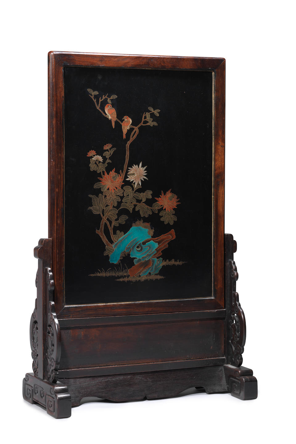 A pair of large hardwood inlaid rectangular screens and stands Late Qing Dynasty