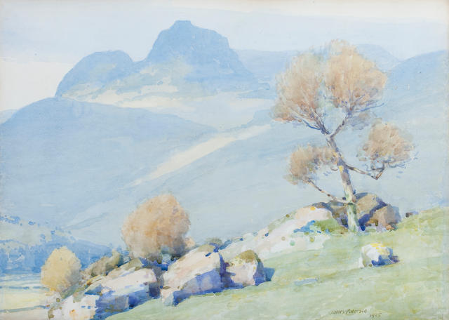 James Paterson, PRSW RSA RWS (British, 1854-1932) Hilltop grazing