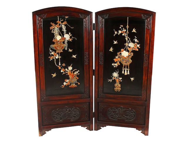 A Japanese hardwood two fold screen Meiji Period