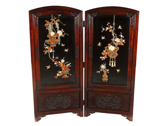 A Japanese hardwood two fold screen Meiji Period