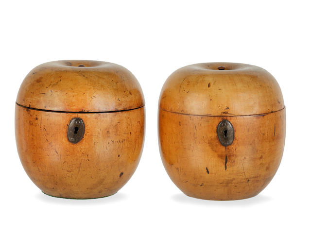 A near pair of 19th century stained fruitwood tea caddies