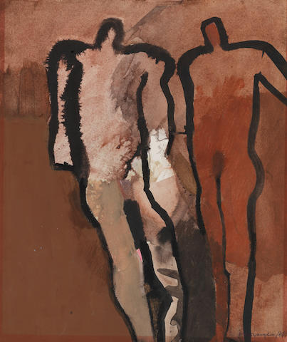 Keith Vaughan (British, 1912-1977) Two Figures on a Red Ground 31.4 x 26.1 cm. (12 3/8 x 10 1/4 in.)
