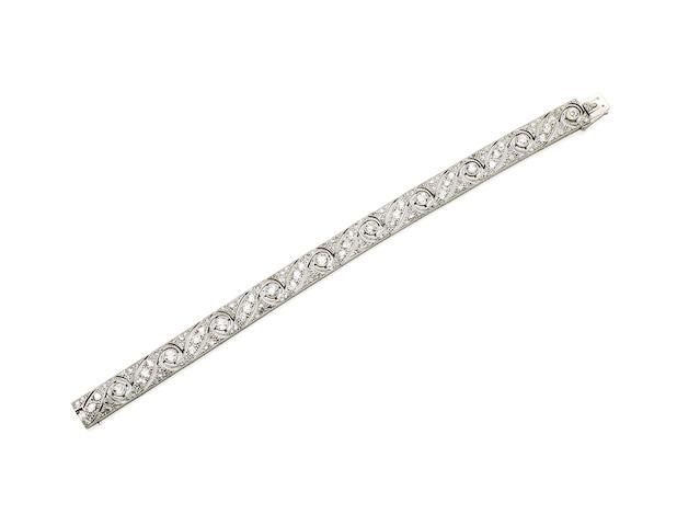 An Art Deco diamond bracelet, retailed by Hardy Bros.,