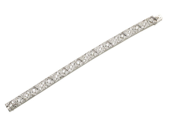 An Art Deco diamond bracelet, retailed by Hardy Bros.,