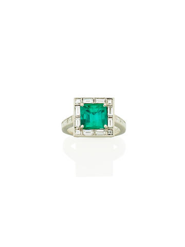 An emerald and diamond dress ring, by Charles Rose Jewellers