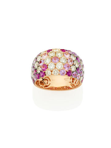 A ruby, diamond and pink sapphire dress ring