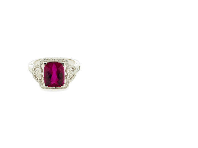 A tourmaline and diamond ring