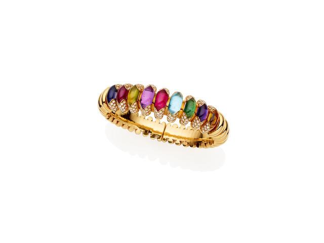 A diamond and gem-set 'Celtaura' bangle, by Bulgari