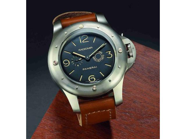 Officine Panerai. A fine and rare limited edition titanium manual wind wristwatch with box and papers L'Egiziano, Ref:PAM00341, Millesimation No.L203/500, Movement No.14672, Sold 17th August 2010