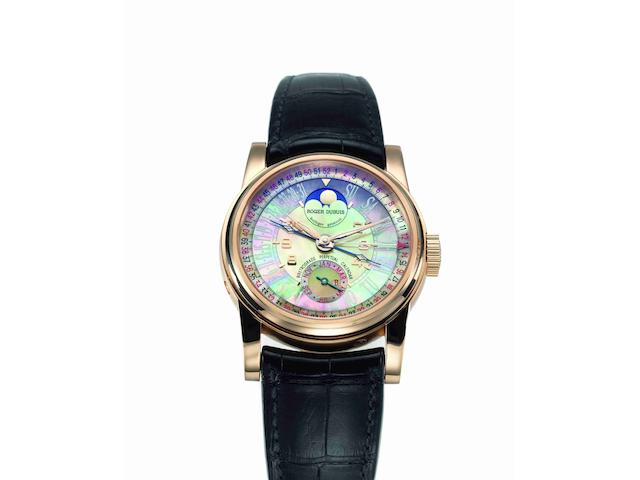Roger Dubuis. A fine and rare 18ct rose gold and mother of pearl automatic bi-retrograde perpetual calendar wristwatch with box and papers Hommage, Ref:HO43, Serial No.13/28, Movement No.184, Manufactured in 2004
