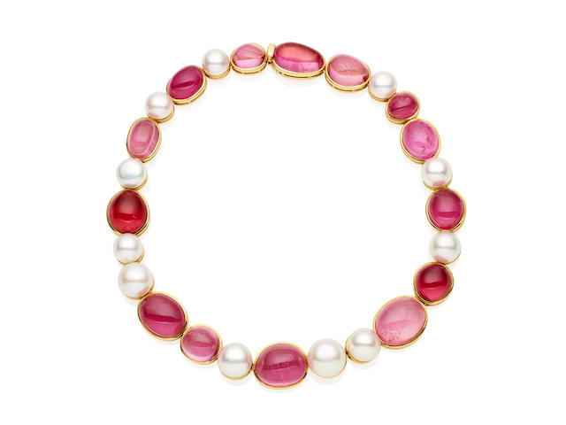 An 18 carat gold, tourmaline and cultured pearl necklace, by De Vroomen, London, for Paspaley