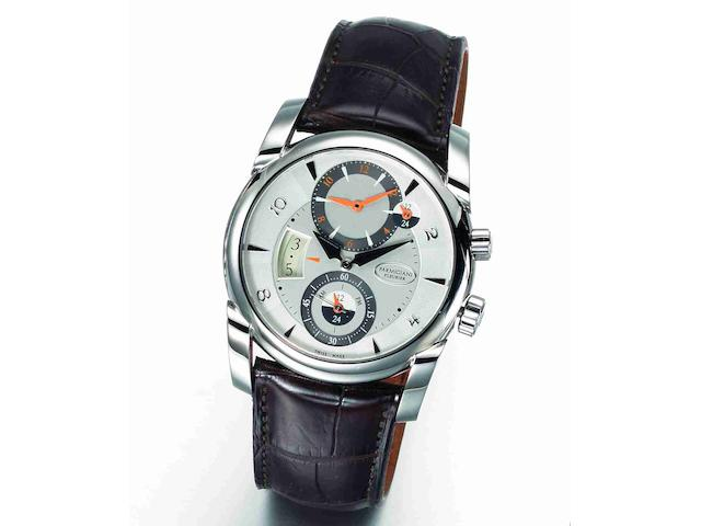 Parmigiani Fleurier. A stainless steel automatic dual time zone calendar wristwatch Kalpa Tonda Hemisphere, Ref:600215.01, Case No.31413, Movement No.044449, Circa 2010