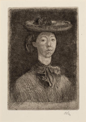 Augustus Edwin John O.M. (British, 1878-1961) Gwendolen Etching and drypoint, the fifth and final state, circa 1902, on partially watermarked laid, signed in pencil, one of 25 published impressions, with wide margins, 139 x 95mm (5 1/2 x 3 3/4in)(PL) unframed