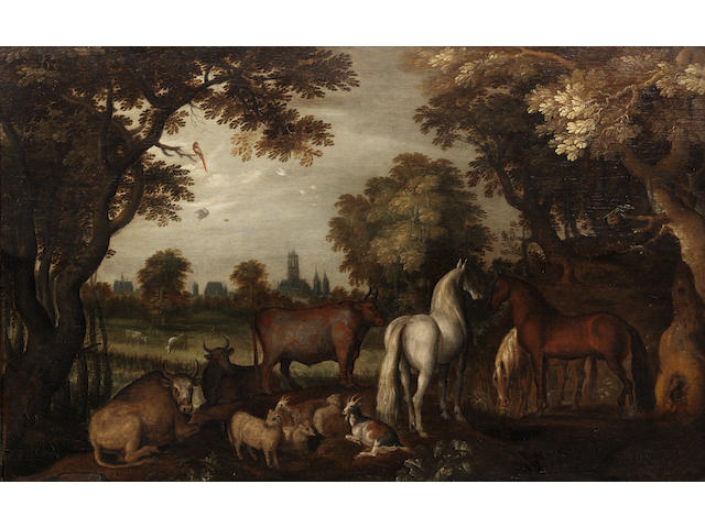 Roelandt Savery (Courtrai 1576-1639 Utrecht) Horses, cattle, sheep and goats beneath trees in the foreground,
