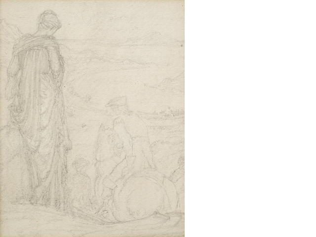 Sir Edward Coley Burne-Jones, Bt., ARA, RWS (British, 1833-1898) Study of a lady bidding farewell, A small landscape study, framed as one largest 18.5 x 14.5cm (7 5/16 x 5 11/16in). other 7 x 9cm (2 3/4 x 3 9/16in).