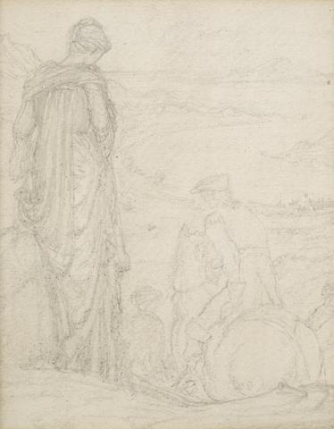 Sir Edward Coley Burne-Jones, Bt., ARA, RWS (British, 1833-1898) Study of a lady bidding farewell, A small landscape study, framed as one largest 18.5 x 14.5cm (7 5/16 x 5 11/16in). other 7 x 9cm (2 3/4 x 3 9/16in).
