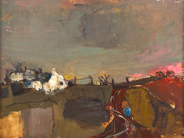 Joan Eardley RSA (British, 1921-1963) Catterline 34 x 44 cm. (13 3/8 x 17 5/16 in.)