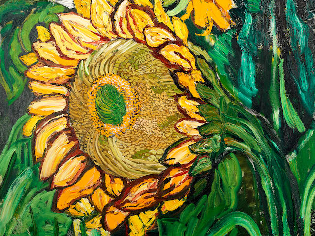 John Bratby R.A. (British, 1928-1992) Sunflowers and the swimming pool