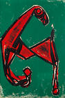 Marino Marini (Italian, 1901-1980) Cheval rouge sur fond vert Lithograph printed in colours, 1955, on wove, signed in pencil, one of 25 artist's proofs aside from the edition of 125, published by Galerie d'art Moderne, Basel, 500 x 348mm (19 3/4 x 14 1/8in)(SH)