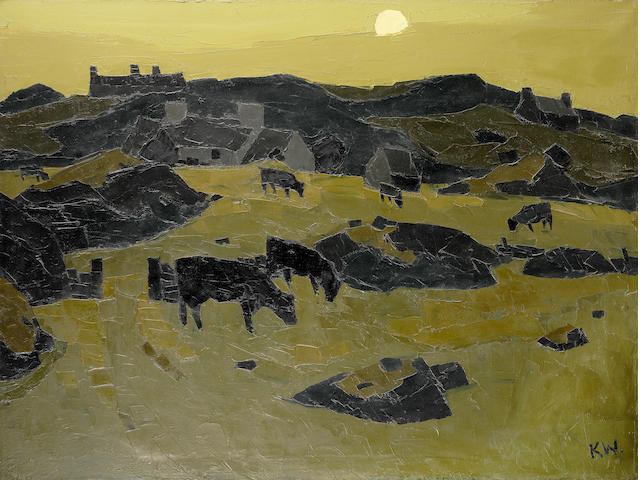Sir Kyffin Williams R.A. (British, 1918-2006) Cows in Moonlight 90.7 x 121.4 cm. (35 3/4 x 47 3/4 in.)