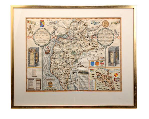 Maps – Cumberland & Nottingham SPEED (JOHN) Cumberland and the Ancient Citie of Carlile Described with many Memorable Antiquities therein found Observed, [1637], double-page, hand-coloured engraved maps (3)