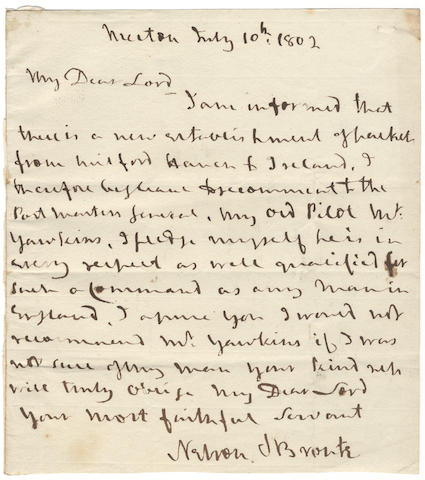 "NELSON (HORATIO) Autograph letter signed (""Nelson & Bronte""), to ""My Dear Lord"" [William Eden, Lord Auckland], Postmaster General, Merton, 10 July 1802"