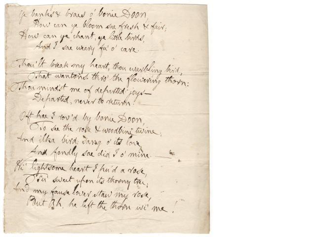 BURNS (ROBERT) Autograph manuscript of his song 'Ye Banks and Braes O'Bonnie Doon', [c. 1792]