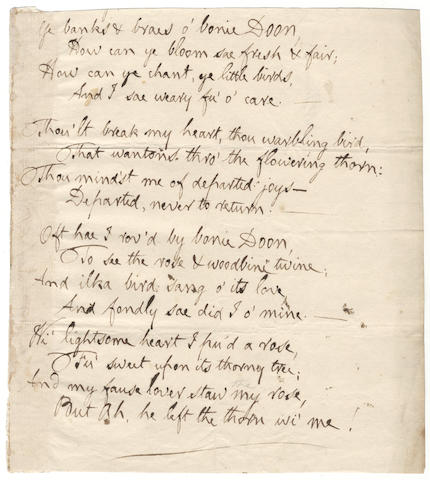 BURNS (ROBERT) Autograph manuscript of his song 'Ye Banks and Braes O'Bonnie Doon', [c. 1792]