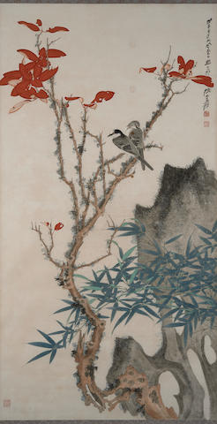 Zhang Daqian (1899-1983) A Pair Perched Amidst Red Leaves