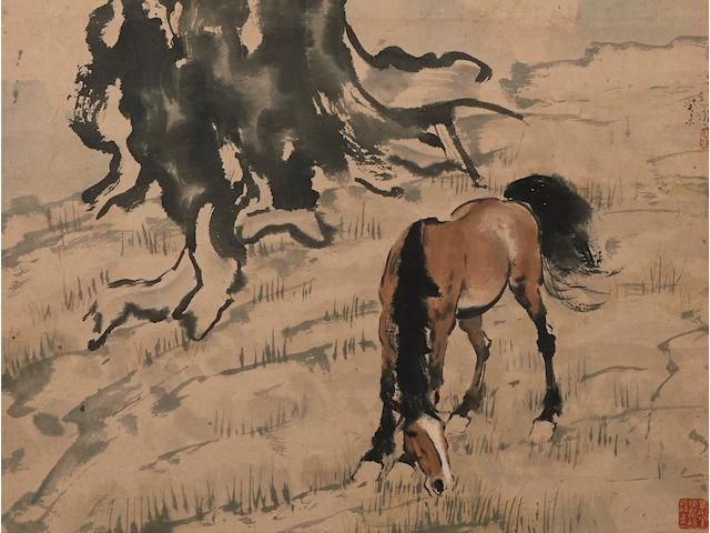 Xu Beihong (1895-1953)  Grazing Under the Tree