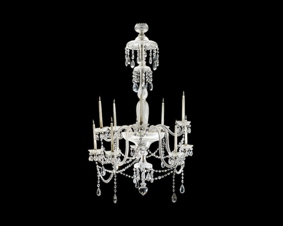 A pair of large and impressive 19th century step-cut ten light chandeliers attributed to Perry & Co.  (2)