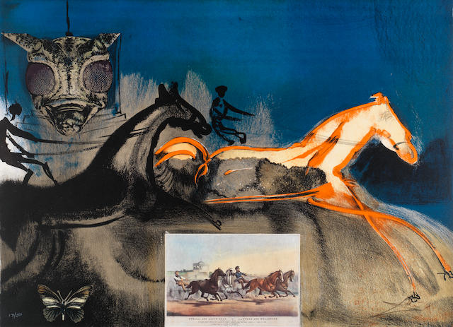 Salvador Dali (Spanish, 1904-1989) American Trotting Horses No. 2 Lithograph printed in colours with collage, 1971, on Rives, signed and numbered 171/250 in pencil, published by Sidney Z. Lucas, the full sheet printed to the edges, 560 x 750mm (22 x 25 1/2in)(SH)(unframed)