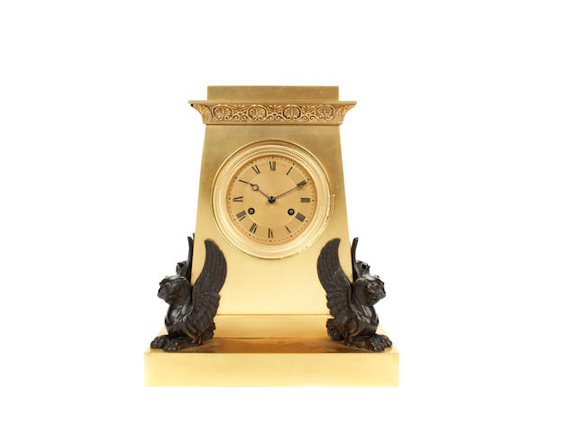 An early 19th century French gilt and patinated bronze mantel clock by Claude Galle, Paris, Maitre 1786