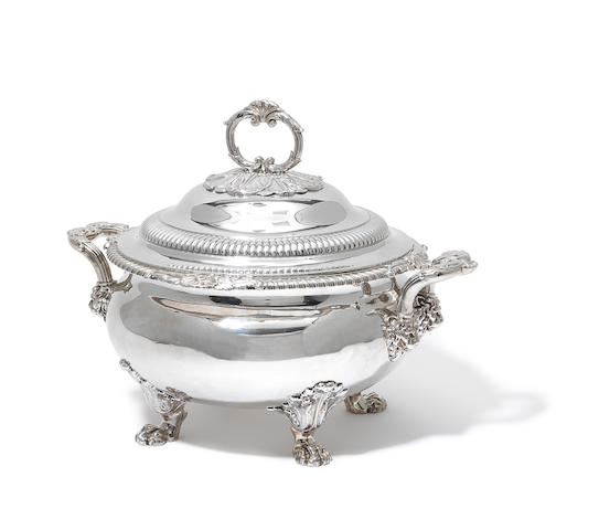 A George IV silver two-handled soup tureen and cover by Paul Storr, London 1824