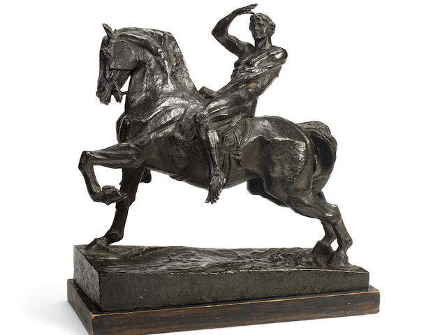 Thomas Wren after George Frederick Watts, OM RA, British (1817-1904): A bronze equestrian reduction  of 'Physical Energy' dated 1914