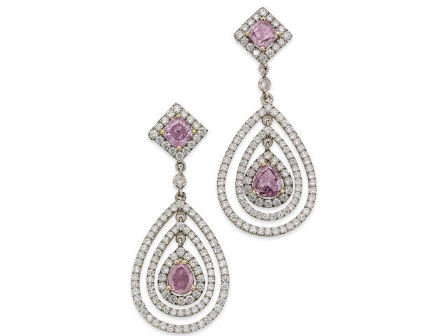 A pair of diamond and fancy-coloured diamond ear pendents