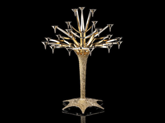 STUART DEVLIN: An impressive and unique silver and silver-gilt twenty-one light candelabrum London 1974
