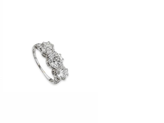 An Art Deco diamond three-stone ring
