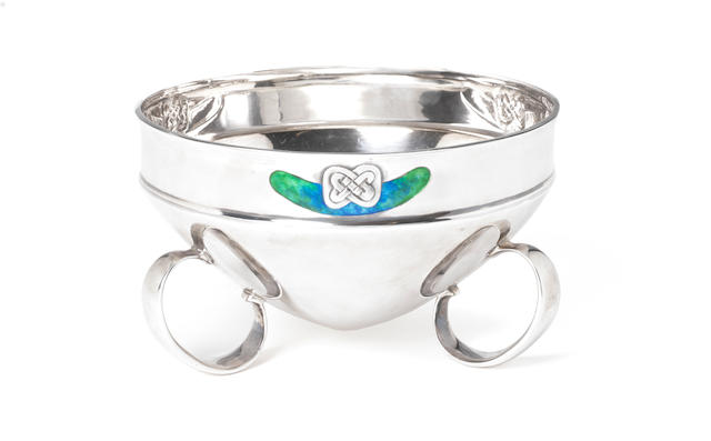 Archibald Knox for Liberty & Co A Rare 'Cymric' Silver and Enamel Trefoil Footed Bowl, 1904