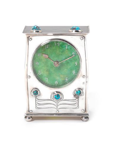 Archibald Knox for Liberty & Co A 'Cymric' Silver and Enamel Clock, 1903