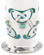 Archibald Knox for Liberty & Co A Rare 'Cymric' Silver, Enamel and Chrysoprase Vase, 1901