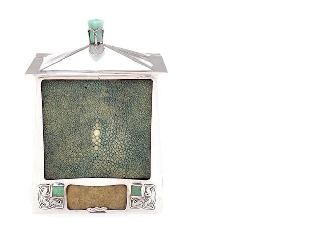 Archibald Knox for Liberty & Co A Rare 'Cymric' Silver, Shagreen and Chalcedony Tobacco Box and Cover, 1901