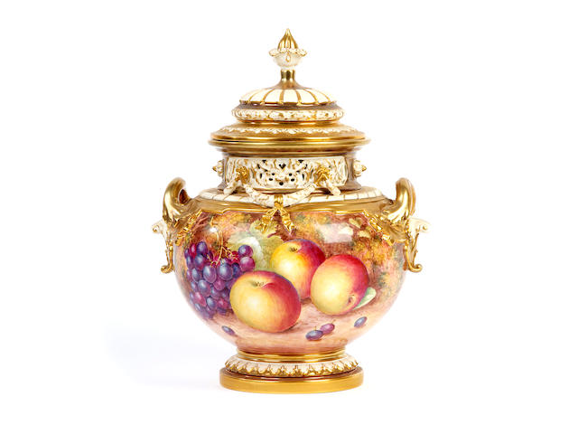A Royal Worcester painted fruit pot-pourri vase and cover by John Freeman, post-war