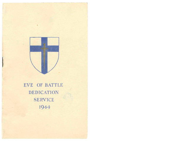D-DAY DEDICATION SERVICE Printed order for the Eve of Battle Dedication Service 1944 of the Second Army prior to D-Day, Second Army Headquarters, Portsmouth, 4 June 1944