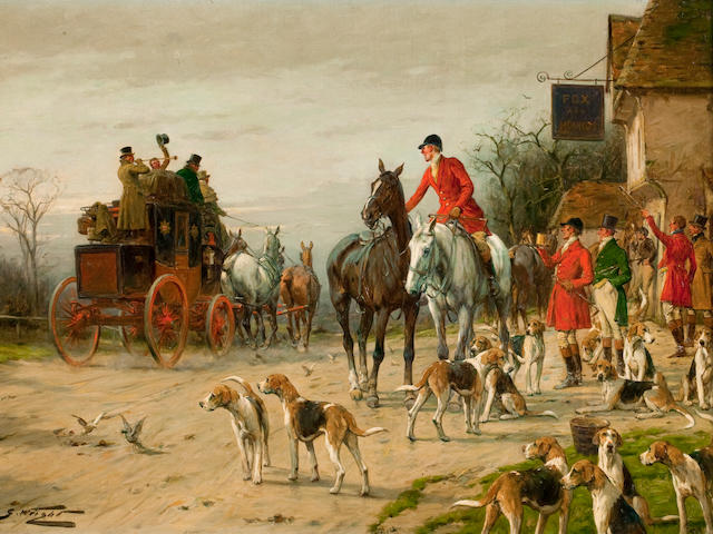 George Wright (British, 1860-1942) Coach departing the Fox & Hounds